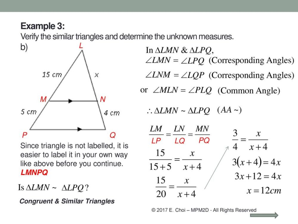 medium resolution of Grade 10 Academic (MPM2D) Unit 5: Trigonometry Congruent \u0026 Similar triangles  Mr. Choi © 2017 E. Choi – MPM2D - All Rights Reserved. - ppt download