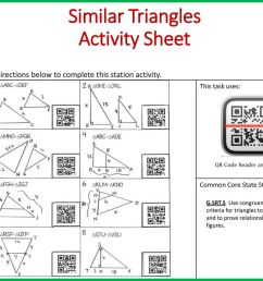 Similar Triangles Objective: Apply similarity criteria for triangles to  solve for missing side. Complete all problems on the task card then use the  QR. - ppt download [ 768 x 1024 Pixel ]