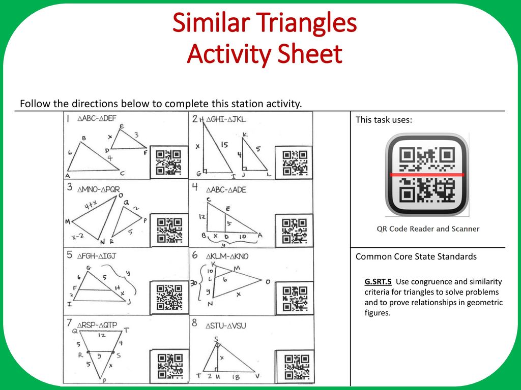 hight resolution of Similar Triangles Objective: Apply similarity criteria for triangles to  solve for missing side. Complete all problems on the task card then use the  QR. - ppt download