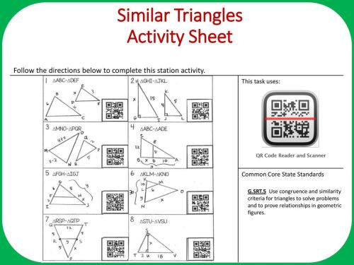 small resolution of Similar Triangles Objective: Apply similarity criteria for triangles to  solve for missing side. Complete all problems on the task card then use the  QR. - ppt download