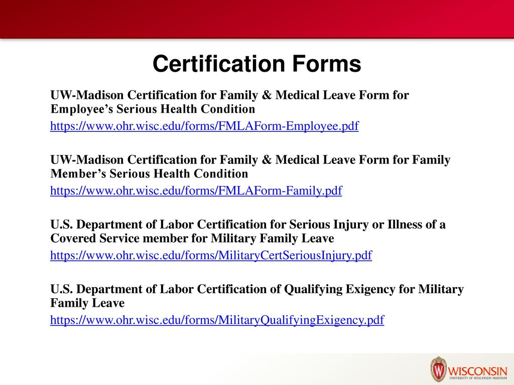 Certification Forms Uw-Madison Certification For Family & Medical Leave Form  For Employee's Serious Health