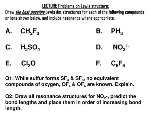 small resolution of lecture problems on lewis structure