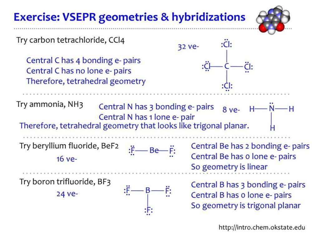 medium resolution of exercise vsepr geometries hybridizations