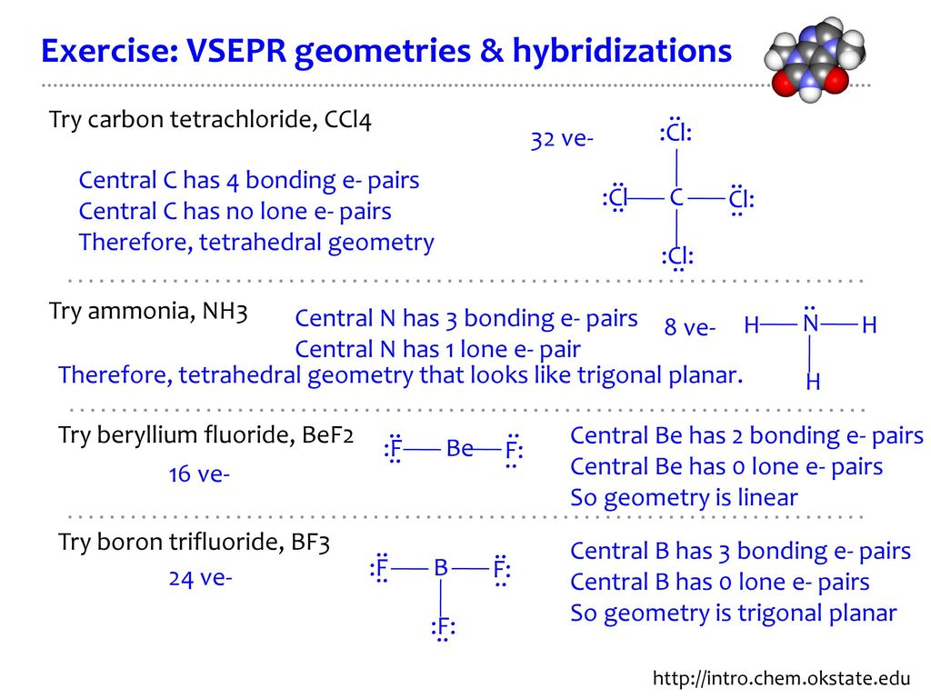 hight resolution of exercise vsepr geometries hybridizations