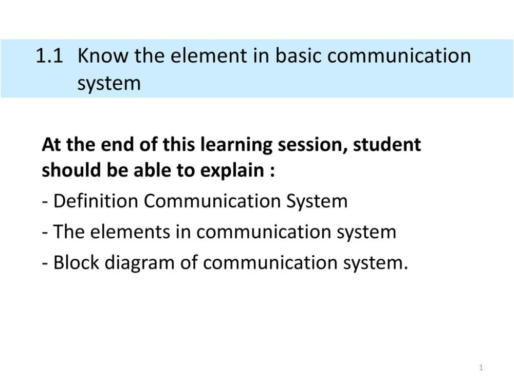 medium resolution of 1 1 know the element in basic communication system