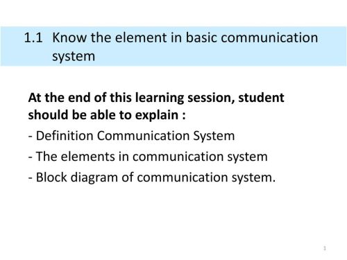 small resolution of 1 1 know the element in basic communication system