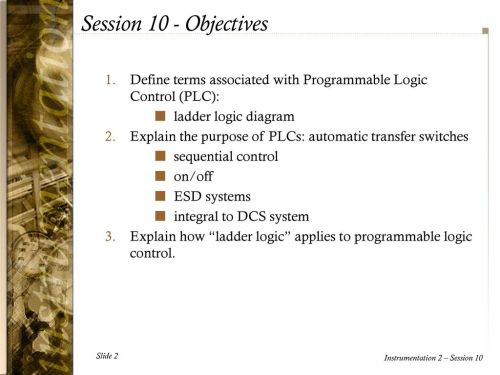 small resolution of session 10 objectives define terms associated with programmable logic control plc ladder