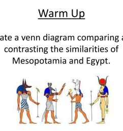 1 warm up create a venn diagram comparing and contrasting the similarities of mesopotamia and egypt  [ 1024 x 768 Pixel ]