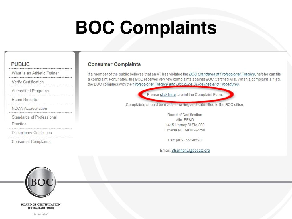 Boc Complaints The Boc Complaint Form Can Be Found On The Boc Website.