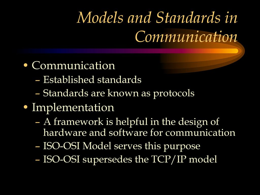 hight resolution of models and standards in communication