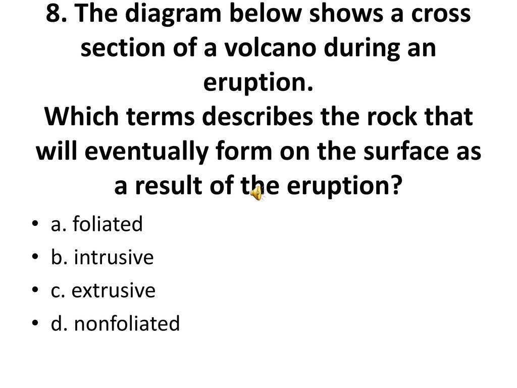 hight resolution of the diagram below shows a cross section of a volcano during an eruption
