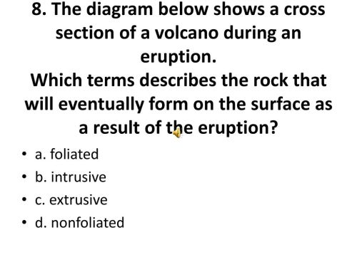 small resolution of the diagram below shows a cross section of a volcano during an eruption