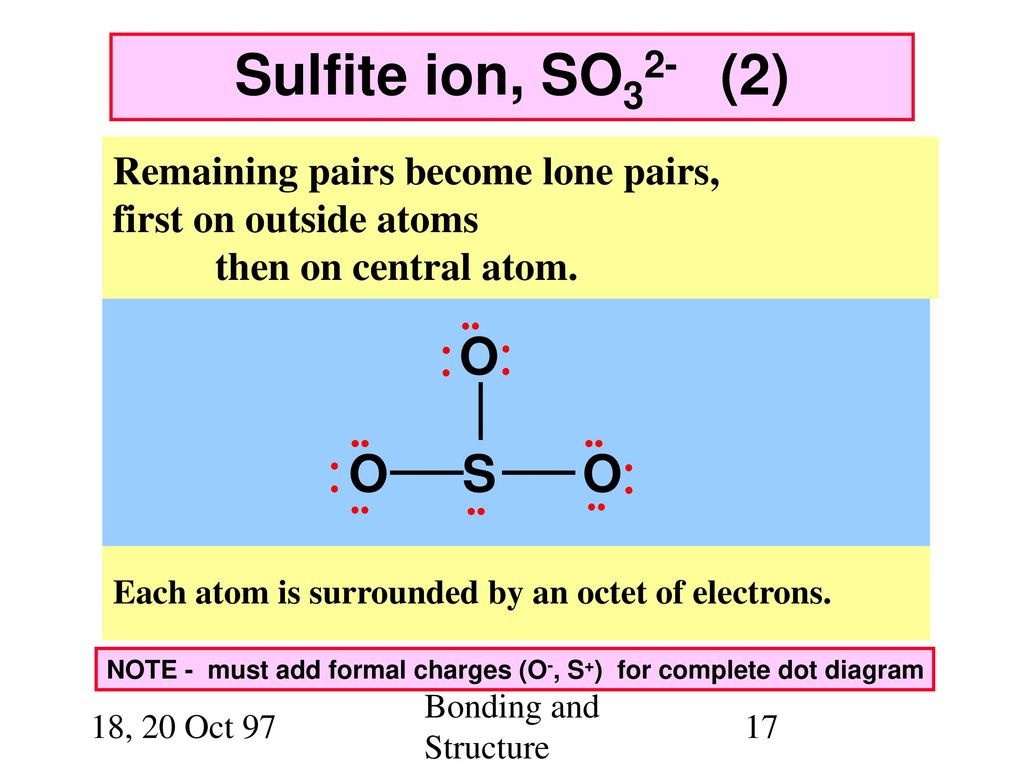 hight resolution of sulfite ion so32 2 o s remaining pairs become lone pairs