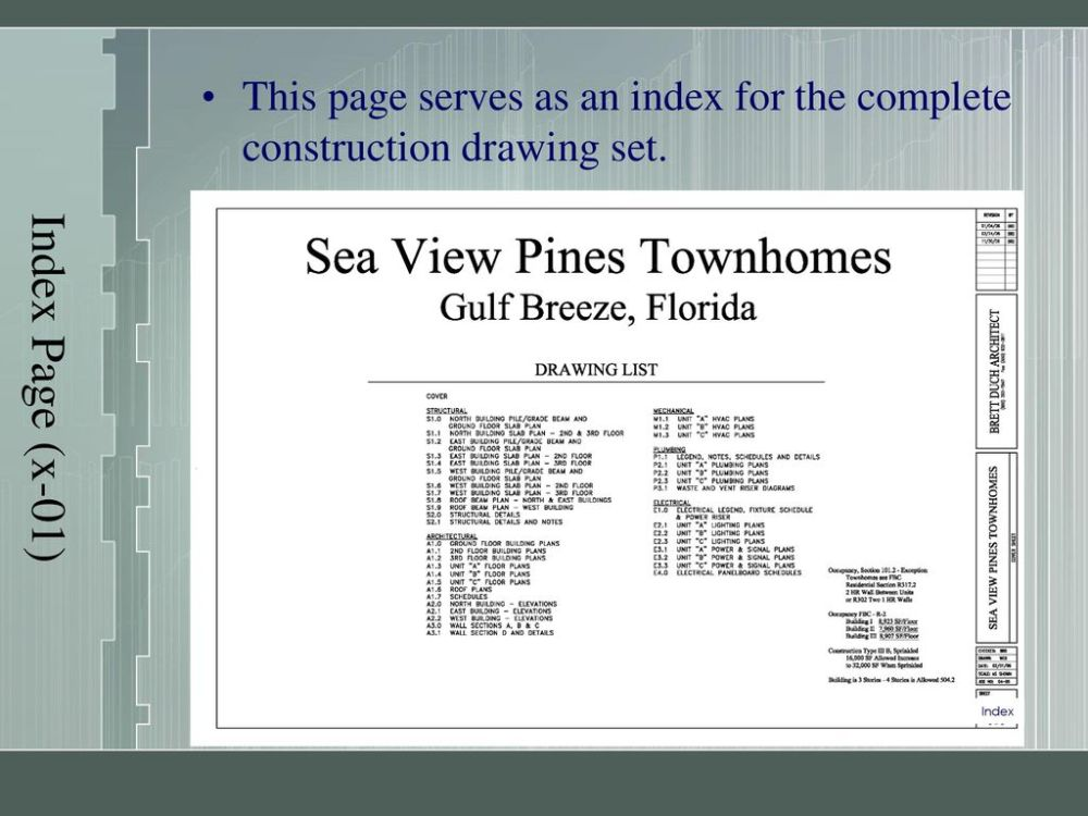 medium resolution of 5 index page x 01 this page serves as an index for the complete construction drawing set index