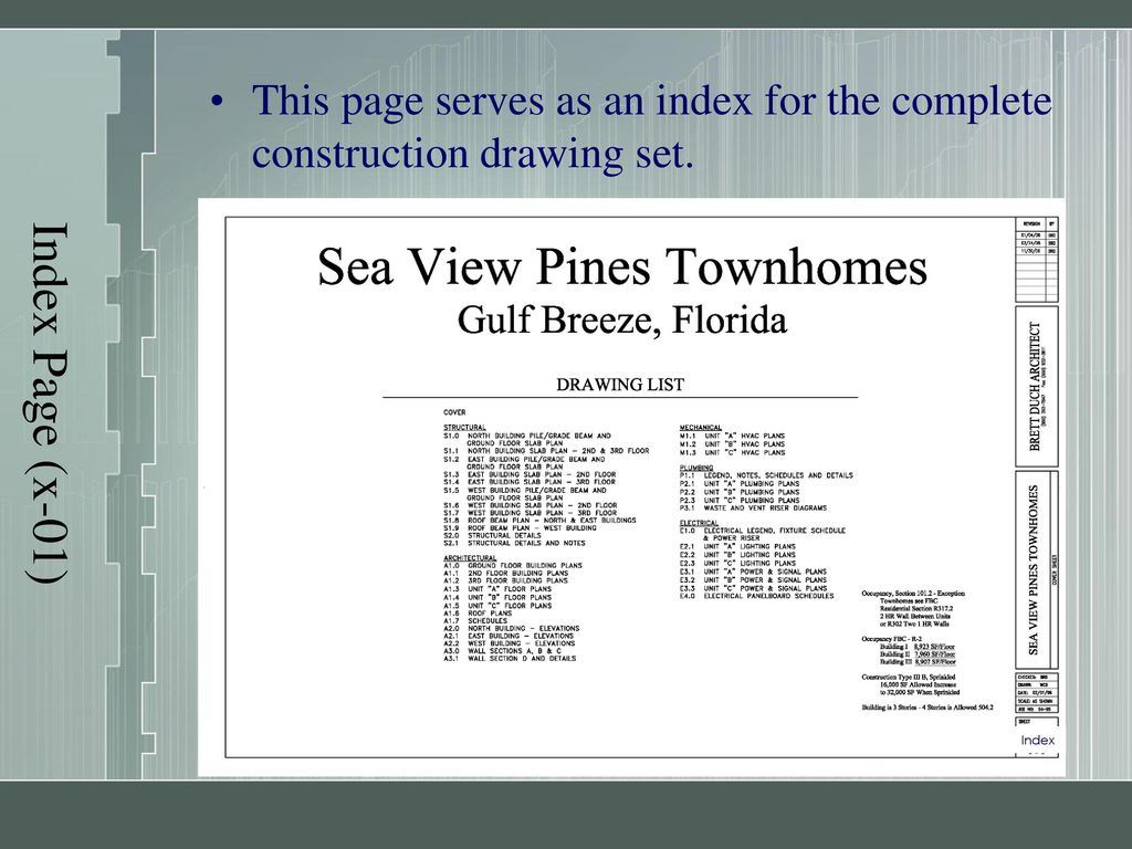 hight resolution of 5 index page x 01 this page serves as an index for the complete construction drawing set index