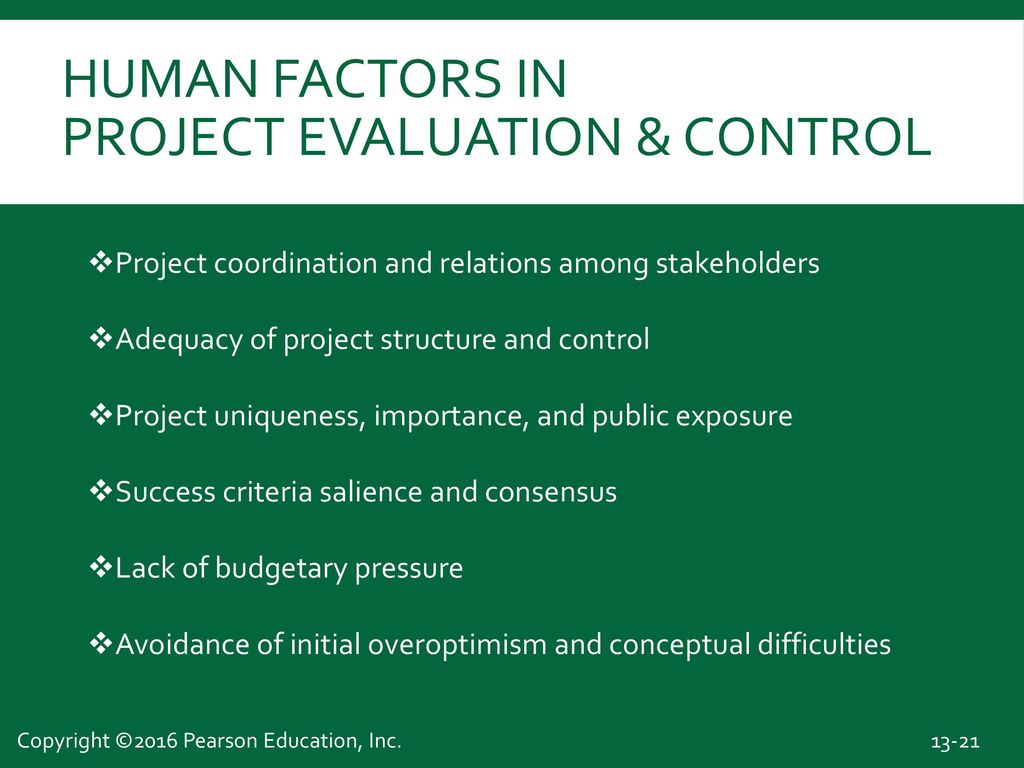 Human Factors In Project Evaluation & Control