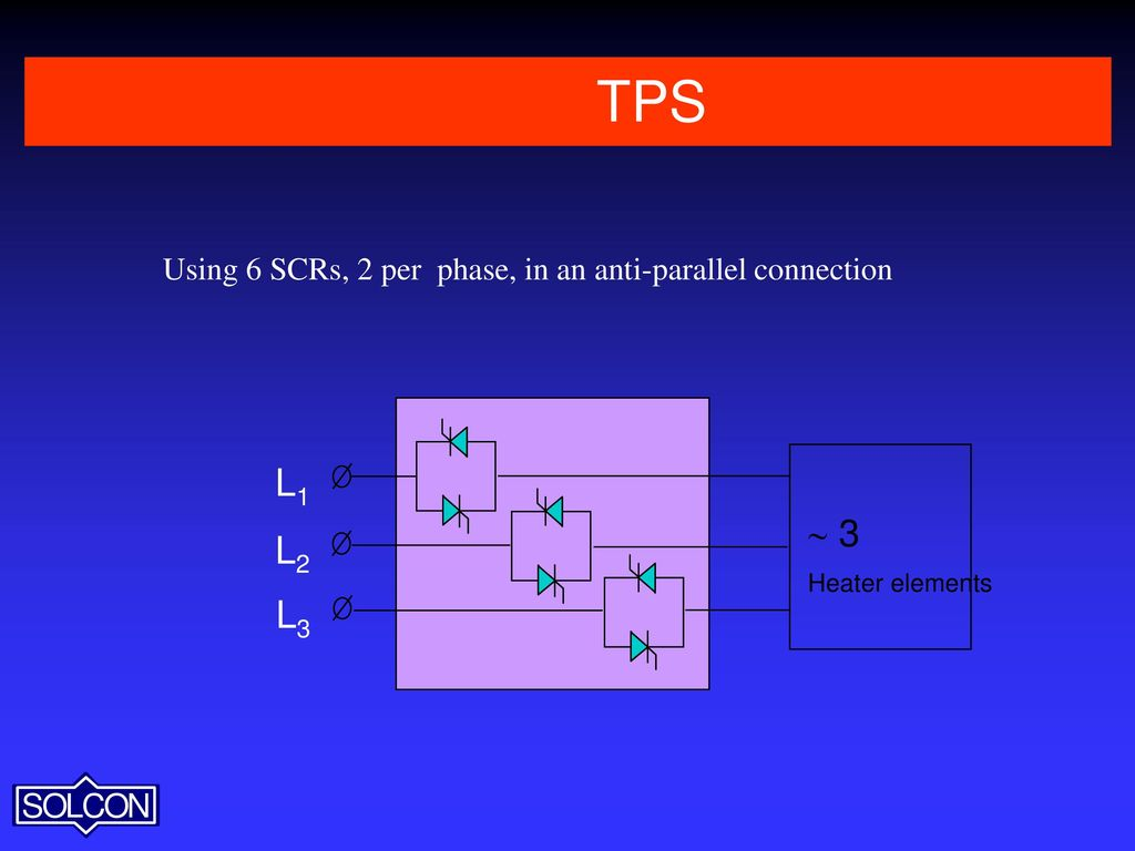 hight resolution of 10 tps using 6 scrs 2 per phase in an anti parallel connection l1 3 heater