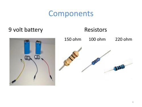 small resolution of 4 components 9 volt battery resistors 150 ohm 100 ohm 220 ohm