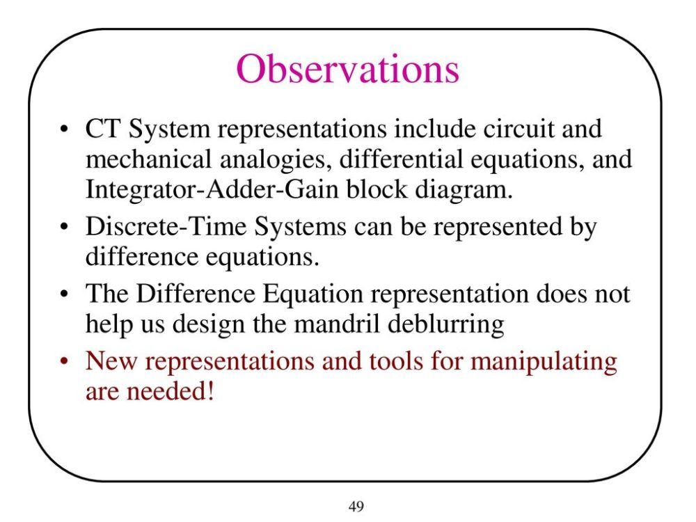 medium resolution of observations ct system representations include circuit and mechanical analogies differential equations and integrator