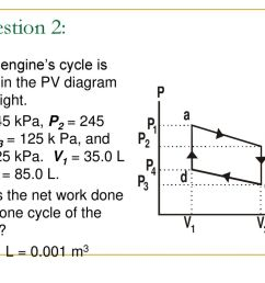 question 2 a heat engine s cycle is shown in the pv diagram to the right [ 1024 x 768 Pixel ]