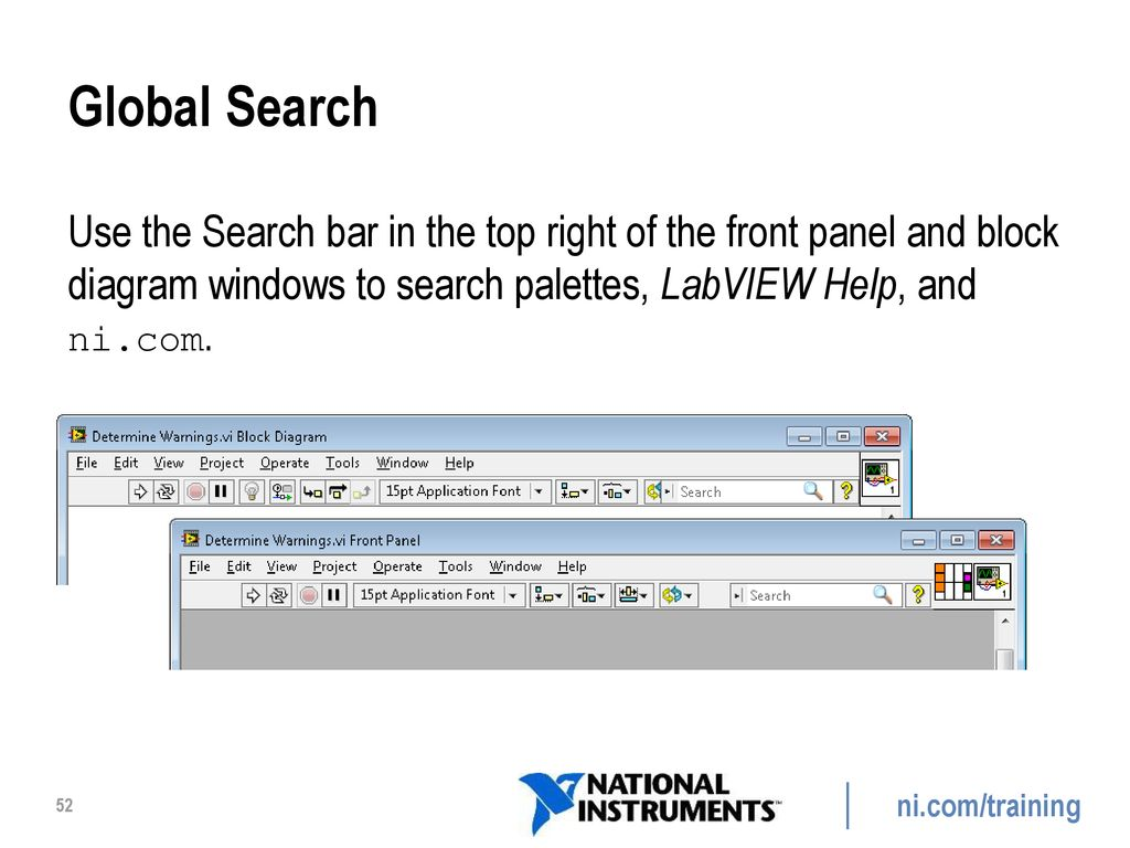 hight resolution of global search use the search bar in the top right of the front panel and block