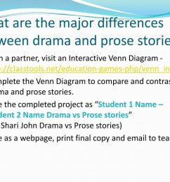 what are the major differences between drama and prose stories [ 1024 x 768 Pixel ]