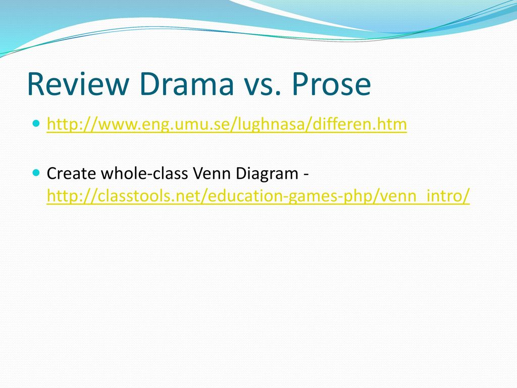 hight resolution of review drama vs prose