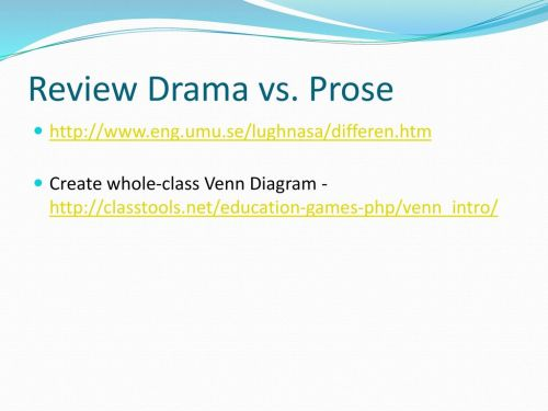 small resolution of review drama vs prose