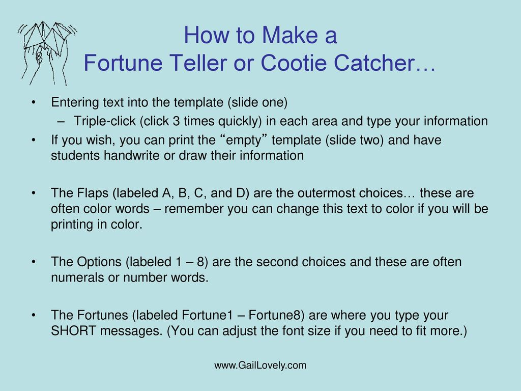 Gallery of How ~ Cootie Catcher Template