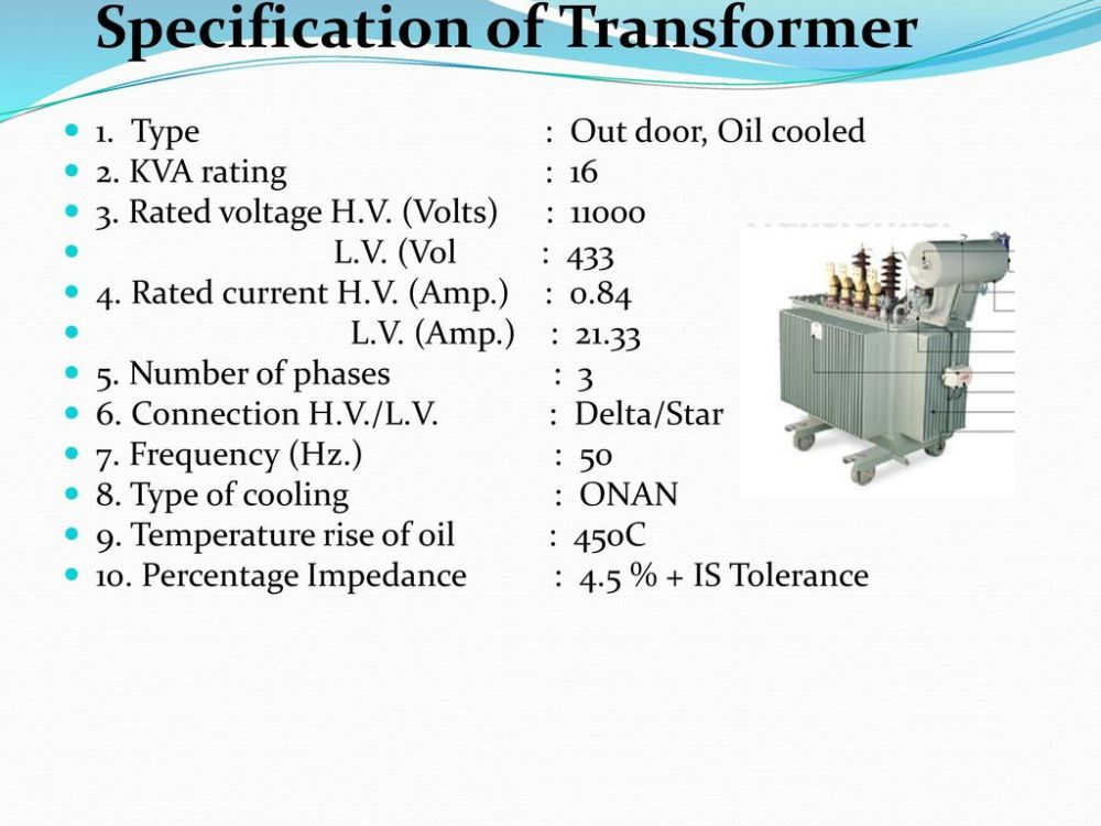 medium resolution of specification of transformer