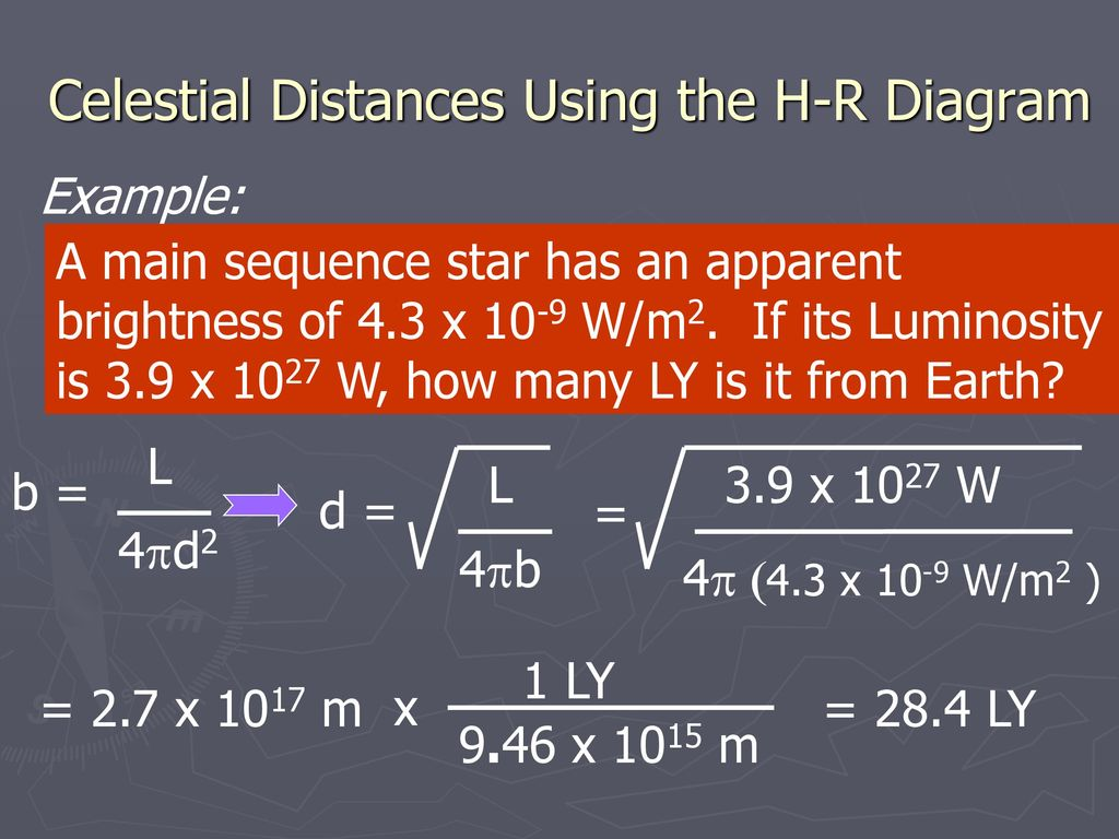 hight resolution of celestial distances using the h r diagram