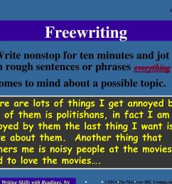 freewriting write nonstop for ten minutes and jot down in rough sentences or phrases everything that [ 1024 x 768 Pixel ]