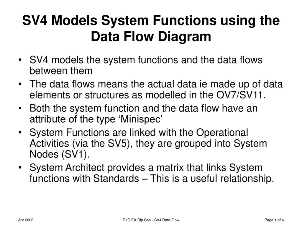 hight resolution of sv4 models system functions using the data flow diagram