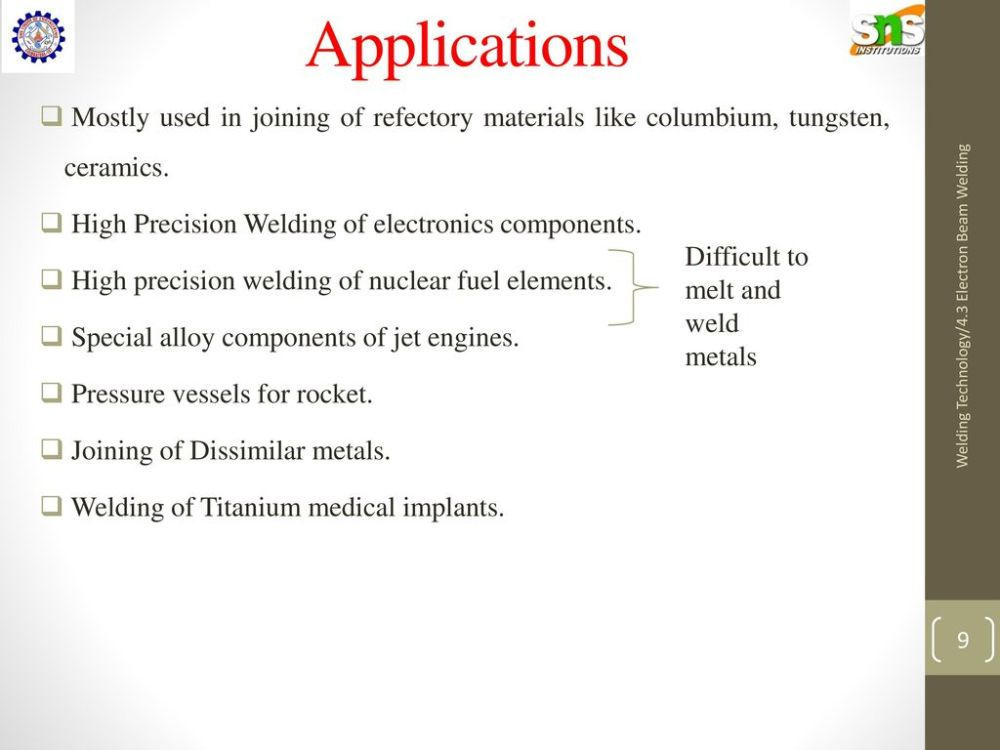 medium resolution of applications mostly used in joining of refectory materials like columbium tungsten ceramics high