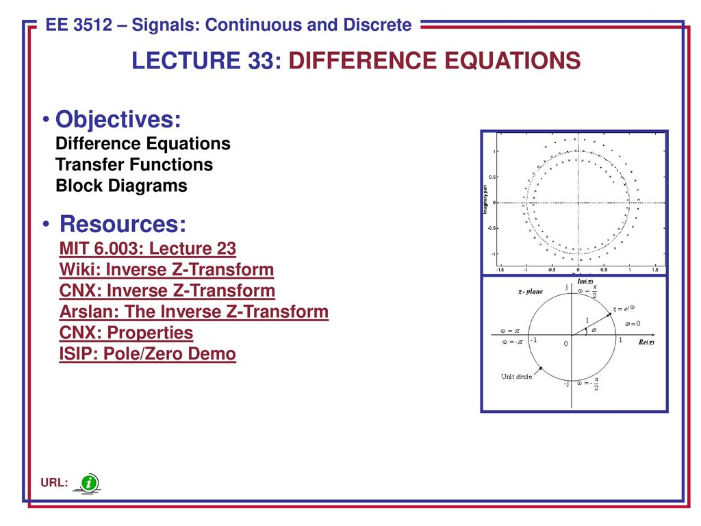 hight resolution of lecture 33 difference equations