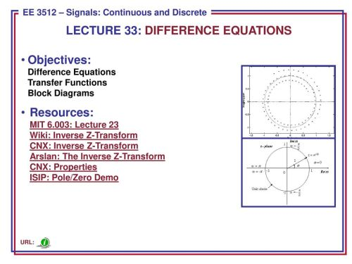 small resolution of lecture 33 difference equations