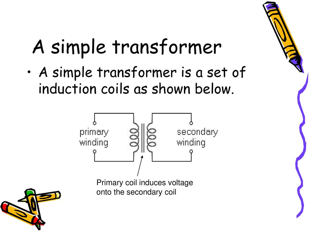 hight resolution of a simple transformer a simple transformer is a set of induction coils as shown below