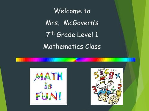 small resolution of Welcome to Mrs. McGovern's 7th Grade Level 1 Mathematics Class. - ppt  download