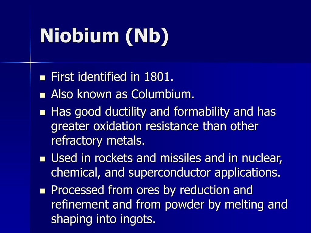 hight resolution of 61 niobium