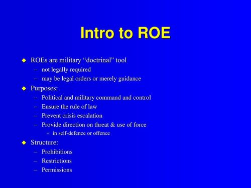 small resolution of intro to roe roes are military doctrinal tool purposes structure