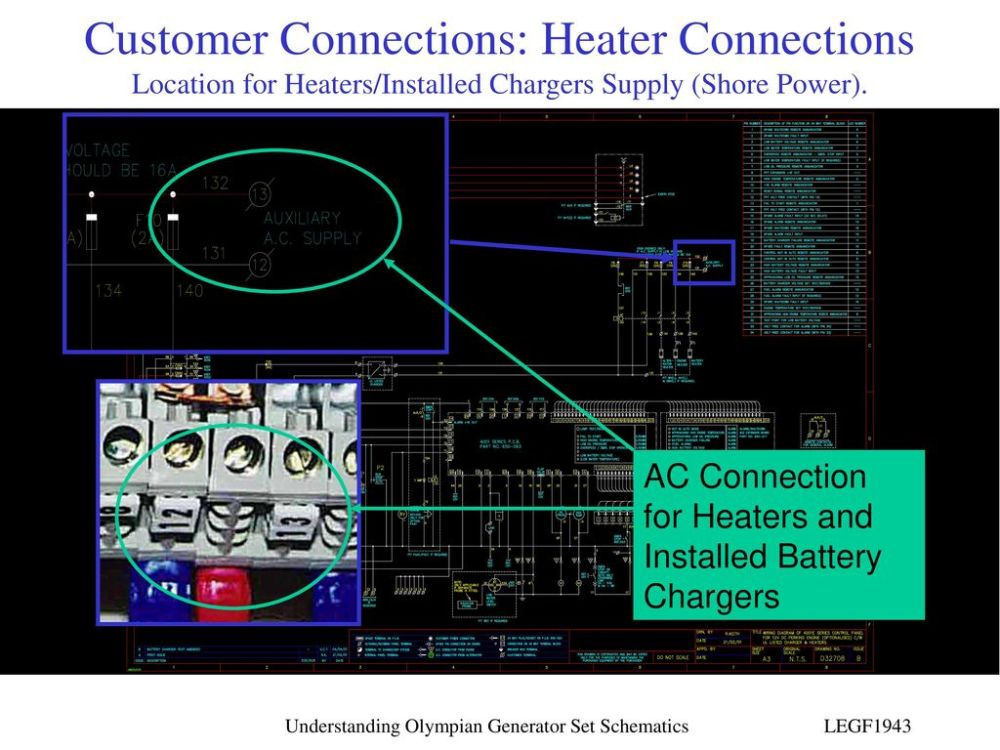 medium resolution of customer connections heater connections location for heaters installed chargers supply shore power