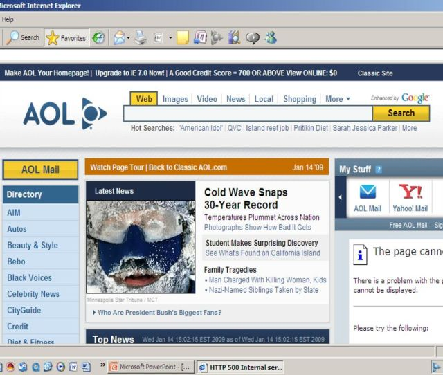 2 The Aol Webpage Note At The Top Right Corner Help Feedback