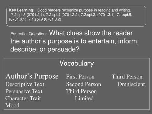 small resolution of Author's Purpose What clues show the reader the author's purpose is to  inform