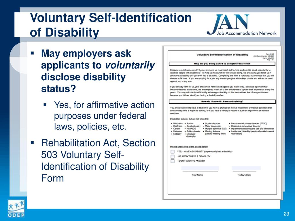 Voluntary Self-Identification Of Disability