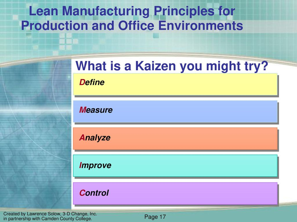 Module 8 Lean Manufacturing Principles For Production And