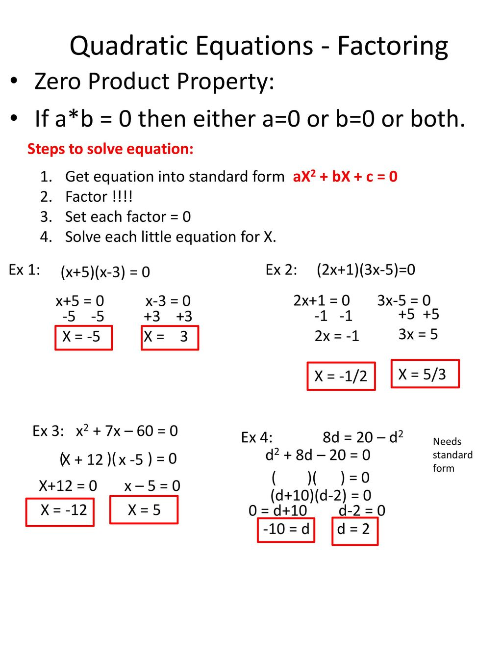 Unit 4 Solving Quadratic Equations