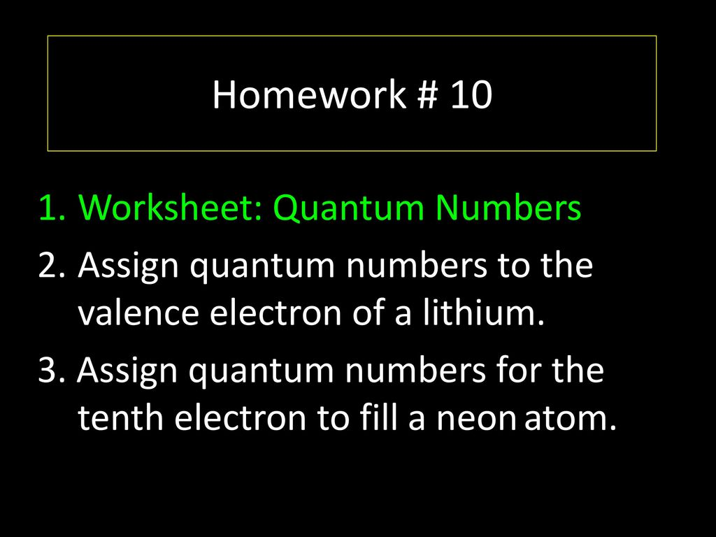 Quantum Number Practice Worksheet
