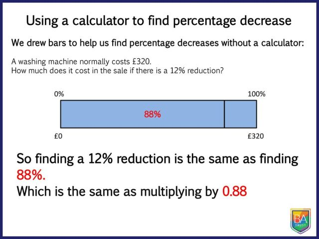 Using a calculator to find percentage decrease - ppt download