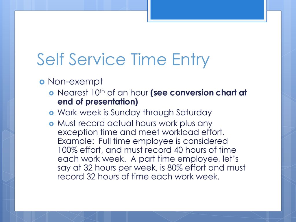 Self Service Time Entry. 3 Conversion Chart