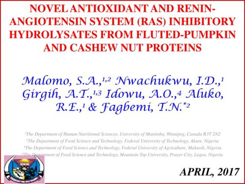 small resolution of novel antioxidant and renin angiotensin system ras inhibitory hydrolysates from fluted pumpkin